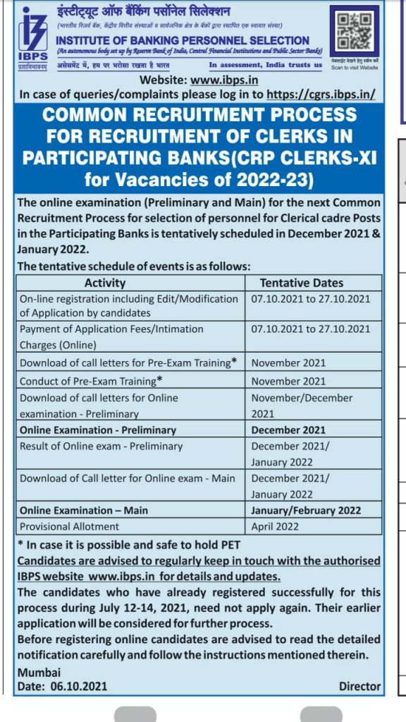 IBPS Clerk 2021 New Notification Out PDF for 7855 Posts_50.1