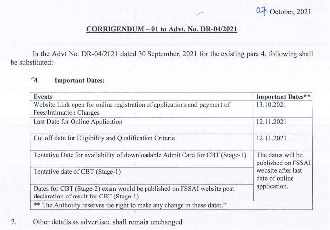 FSSAI Recruitment 2021 For 254 Posts, Apply Online Till 12th November_60.1
