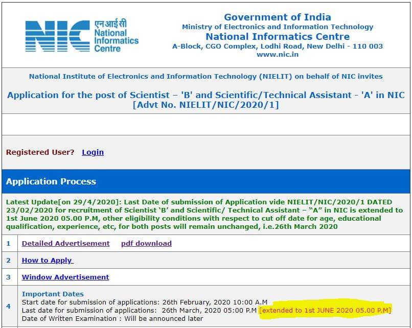 NIELIT Recruitment 2020: Apply Online For 495 vacancies_50.1