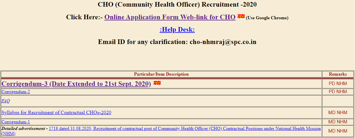 NHM Rajasthan CHO Recruitment 2020: Last Date To Apply For 6310 CHO Vacancies Extended, Check Official Notice_50.1