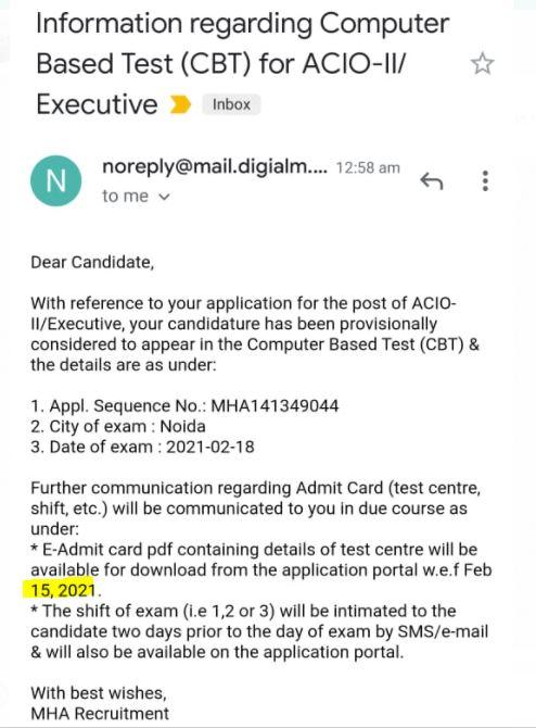 IB ACIO Exam date 2021 Admit Card : Check Your Mail by IB_50.1