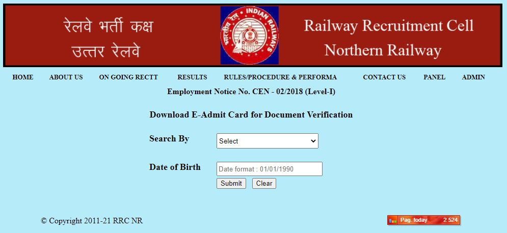 RRC Northern Railways: Download E-Admit Card for Document Verification_50.1
