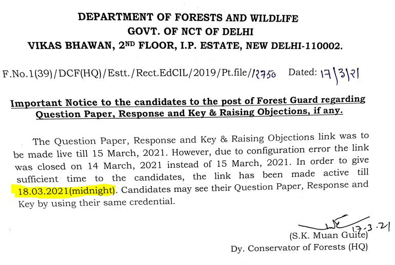 Delhi Forest Guard Answer Key 2021 Out_50.1