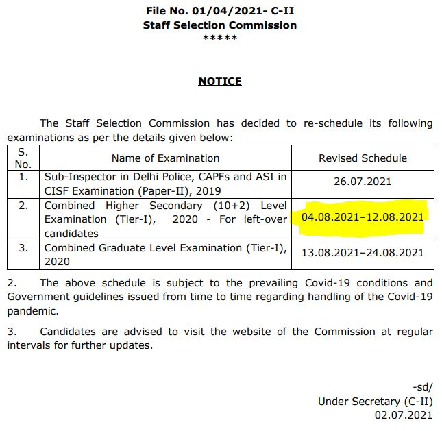 SSC CHSL 2021 Tier-1 Exam Dates Out: Check Official Notice_50.1