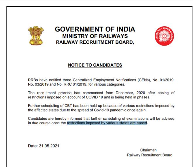 RRB ग्रुप-D, RRB NTPC CBT 2 की परीक्षा के सम्बन्ध में रेलवे ने जारी किया नोटिस: यहाँ देखें पूरी जानकारी_50.1