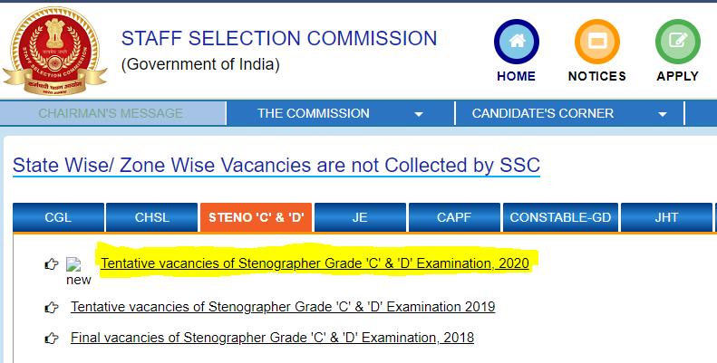 SSC स्टेनोग्राफर C & D परीक्षा 2020: टेंटेटिव वैकेंसी जारी ; जानिए कितनी हैं वैकेंसी_50.1