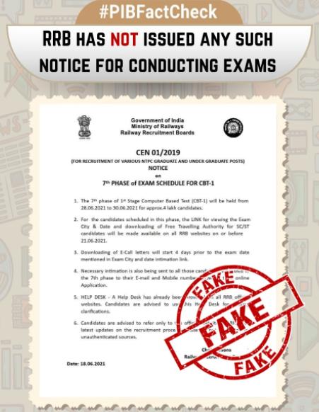 RRB NTPC फेज 7 परीक्षा तिथि 2021: सोशल मीडिया में फैल रहा Fake Notice; PIB फैक्ट चेक ने किया ट्विट_50.1