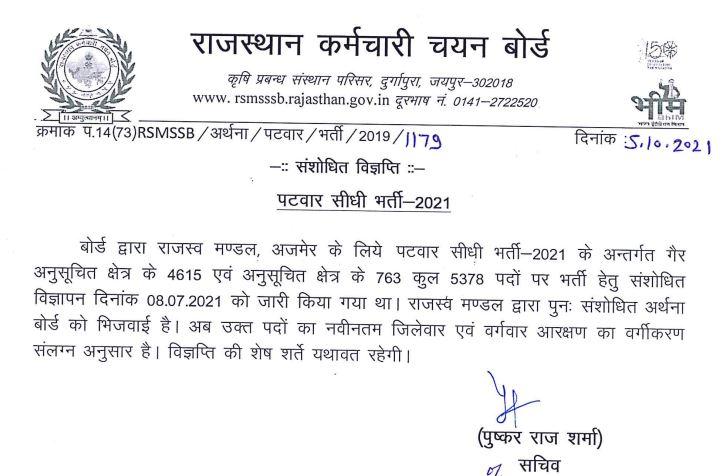 RSMSSB Patwari Recruitment 2021: Check Latest Notice for 5378 Vacancies_50.1