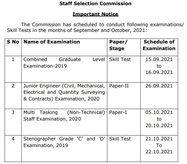 SSC Calendar 2021: SSC CGL, JE, MTS and Other SSC Exams Revised Dates_50.1