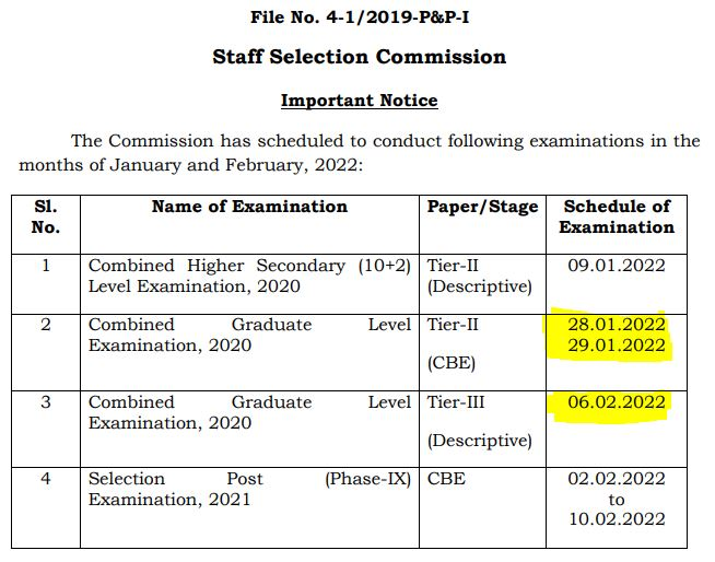 SSC CGL 2021: Check Latest Notice for SSC CGL Tier 2 & Tier 3 Exam Dates_50.1