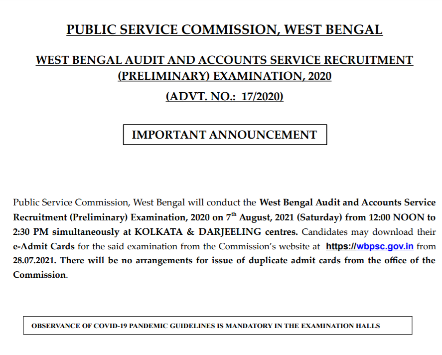 WBPSC Prelims Exam Schedule 2021: Released for Audit and Accounts Service:Check Now_50.1