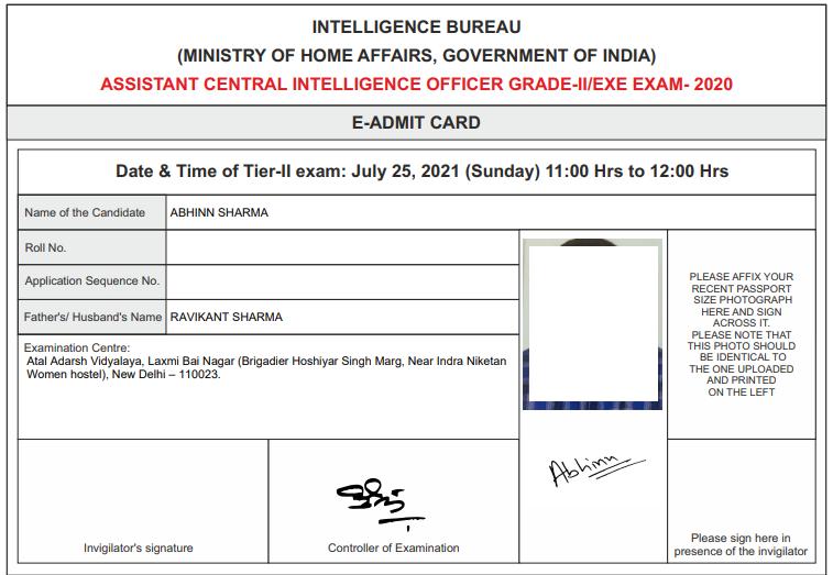 IB Admit card Sample