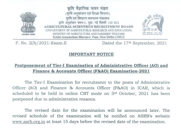 ASRB ICAR Recruitment 2021 : Exam Postponed | Check Details_50.1