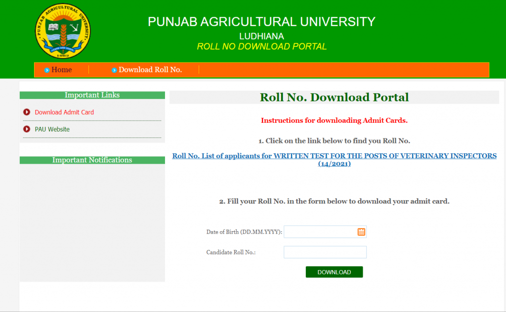 PSSSB Veterinary Inspector Admit Card : Download Now 2021_50.1
