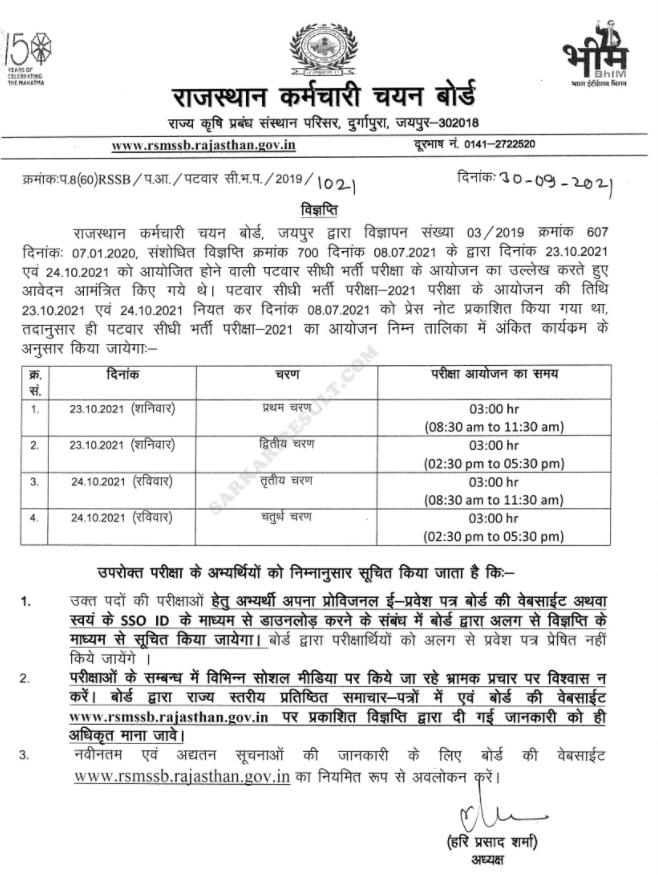 Exam Calendar for Rajasthan 2021:Check RSMSSB Patwari Exam Date_50.1