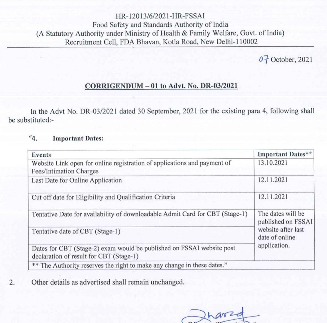 FSSAI Recruitment 2021 : Check Eligibility Criteria, Selection Process, Exam Date_50.1