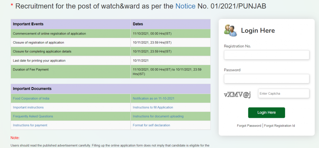 FCI Recruitment 2021 Apply Online for 860 Watchman Vacancies_50.1