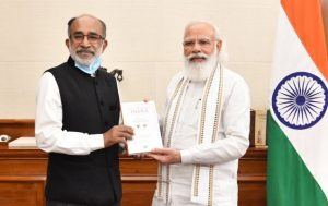 A book title 'Accelerating India: 7 Years of Modi Government' by K J Alphons_50.1